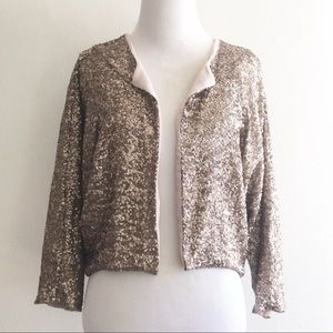 NWT Anthro Stitch Knot Sequined Jacket Gold Medium